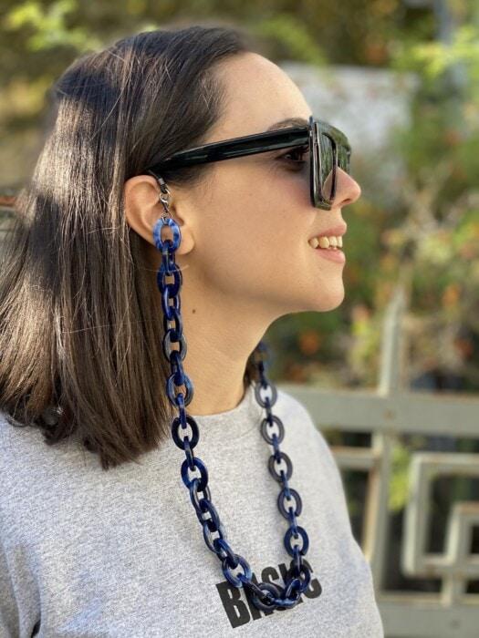 κοκκαλινη χοντρη αλυσιδα γυαλιων -μπλε