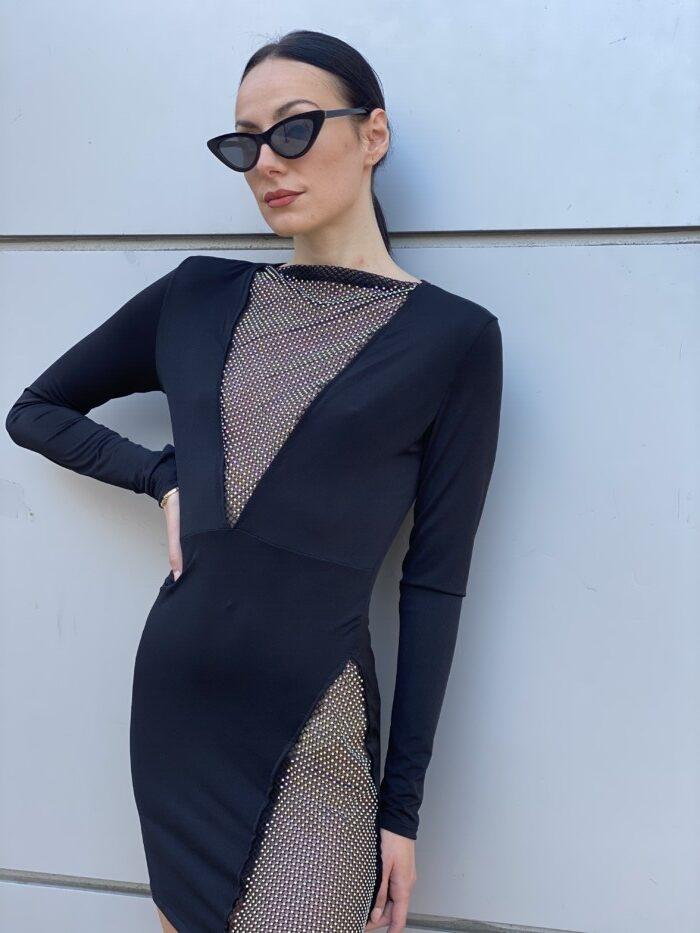 sparkle mini dress-μαυρο